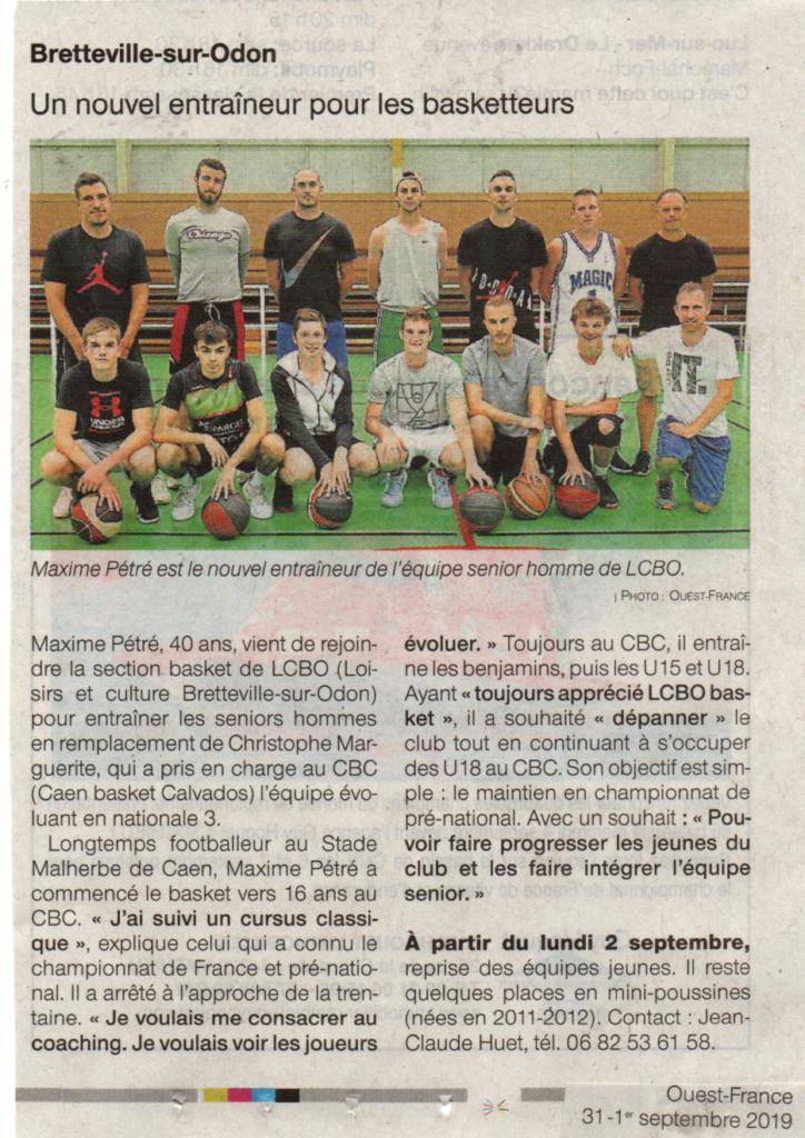Article Ouest-France 31 août 2019