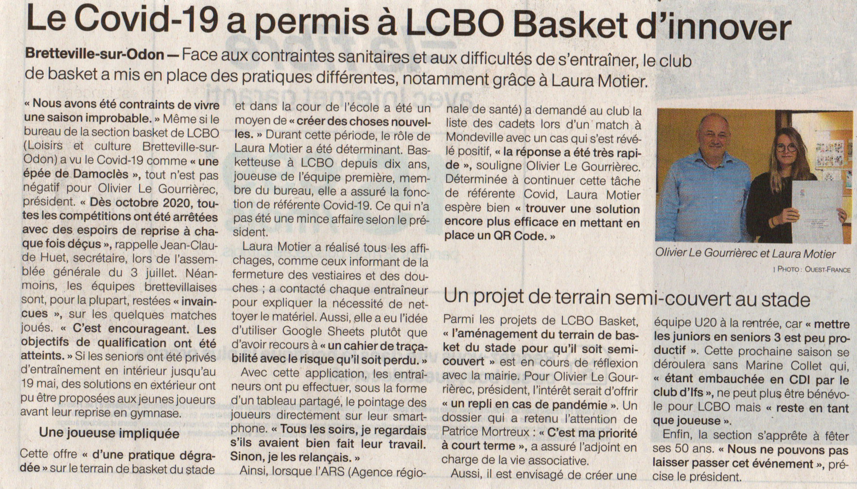 Article Ouest-France AG LCBO-Basket 2021