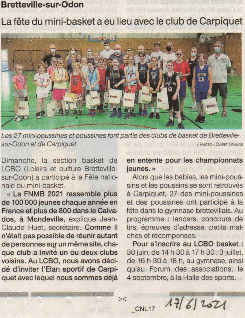 FNMB2021 à Bretteville dans Ouest-France du 17-06-21