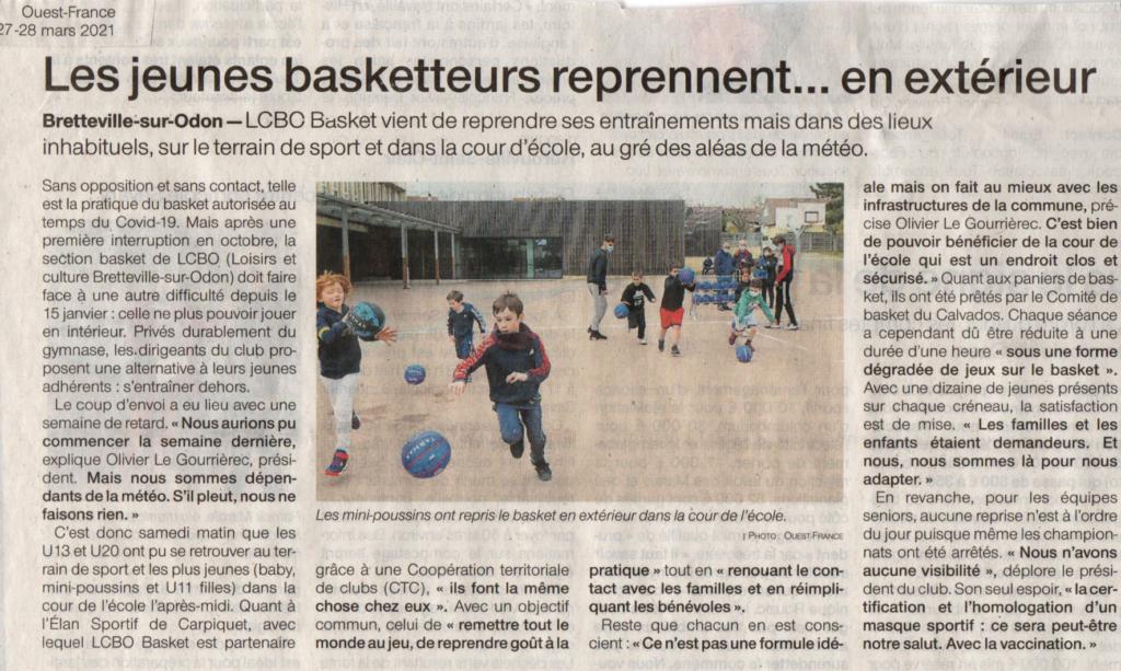 Ouest-France Reprise entraînement 27-03-2021